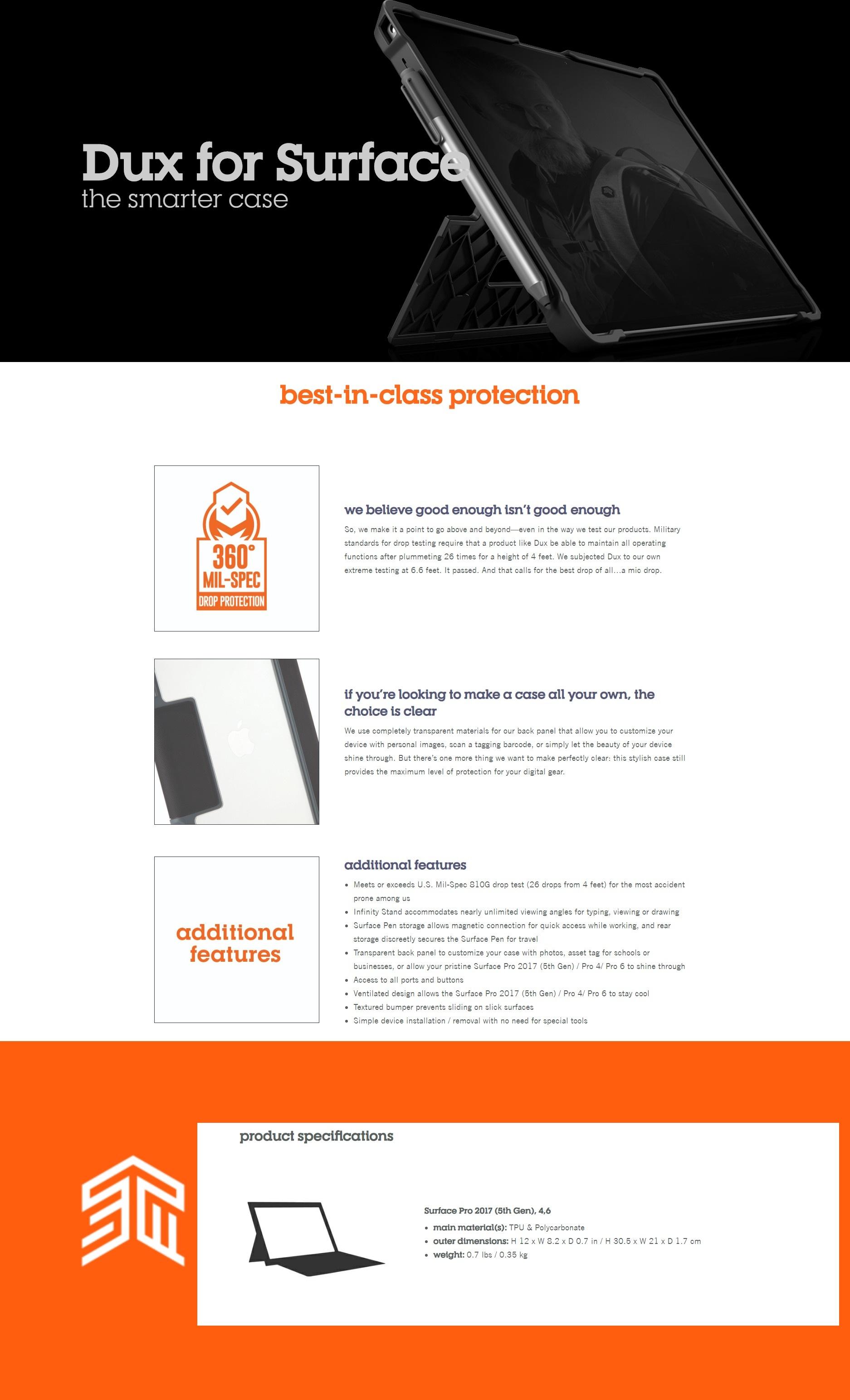 STM DUX (MS SURFACE PRO/PRO 4/PRO 6) - BLACK -Brand New